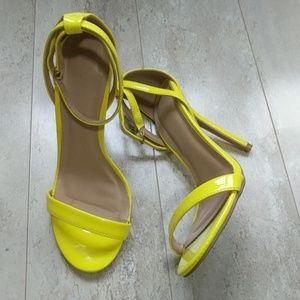 Wild Diva Yellow ankle strap heels